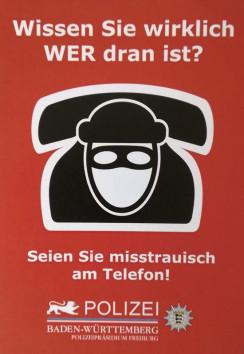 Seien Sie misstrauisch am Telefon!